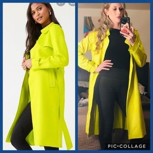 Forever 21 Faux suede lime green trench coat - M